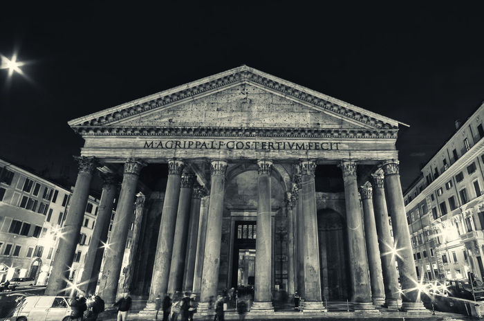 Pantheon, Rome. Agrippa Architecture Empire Pantheon Rome Building Exterior Built Structure City Civilization Columns Façade History Illuminated Italian Italy Low Angle View Monument Night Outdoors Roman Travel Travel Destinations