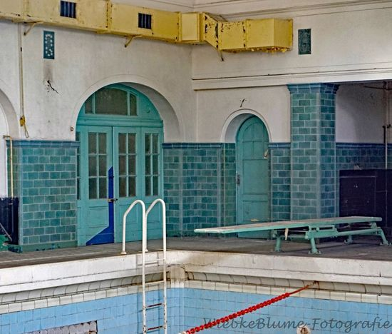 Lost Places Arch Architecture Building Building Exterior Built Structure City Day Door Entrance Multi Colored Nature No People Outdoors Pool Railing Residential District Staircase Swimming Pool Turquoise Colored Window Yellow