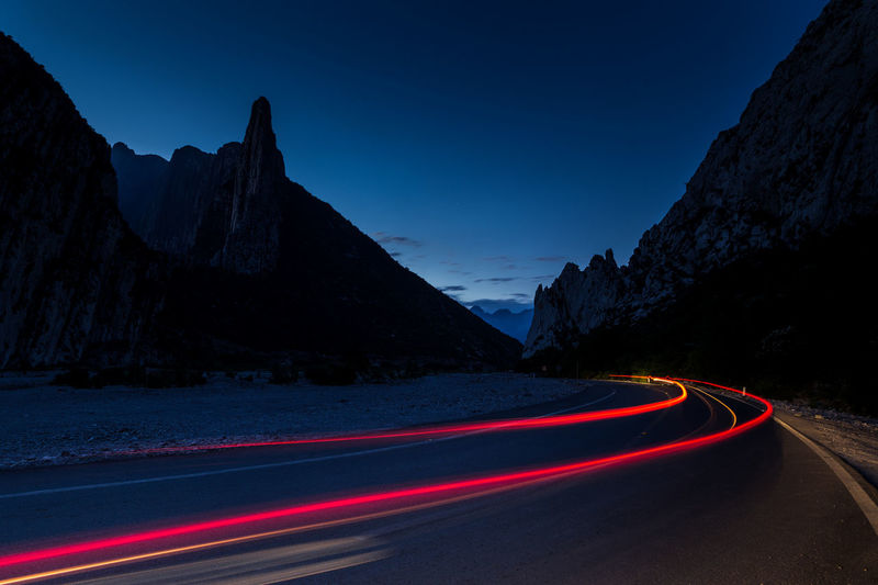 Light Trail Long Exposure Mountain Nature Night Outdoors Road Sky Transportation