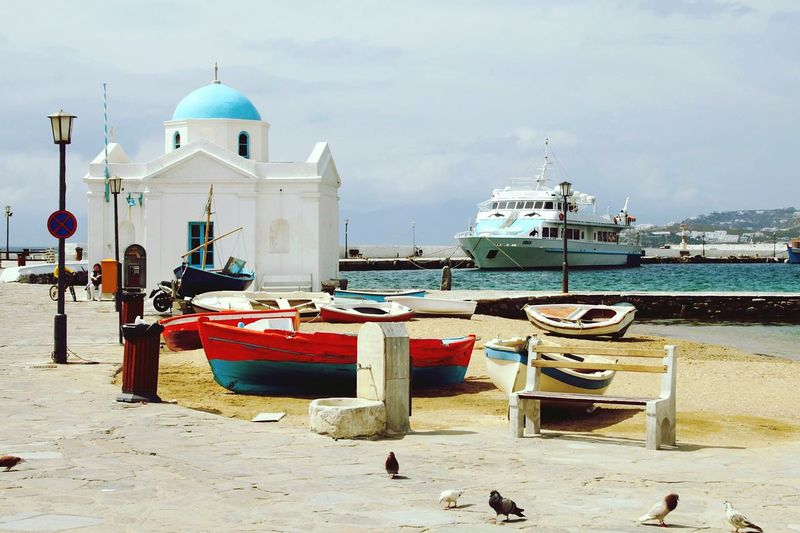 Mykonos Harbour Ship Church White And Blue Sunny Day Holiday Boat Greece