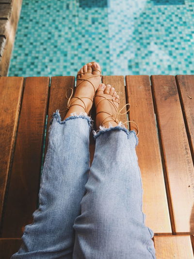 Swimming Pool Water Women Relaxation Sitting Human Leg High Angle View Comfortable Close-up Poolside Jeans First Eyeem Photo