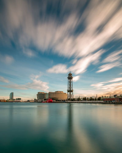 Port Vell Aerial Tramway in LE 60 sec Architecture Built Structure Sky Water Cloud - Sky Building Exterior Waterfront Tower Nature Building No People Industry City Reflection Sunset Pier Bay Barcelona EyeEm Team AMPt_community Long Exposure Leefilters