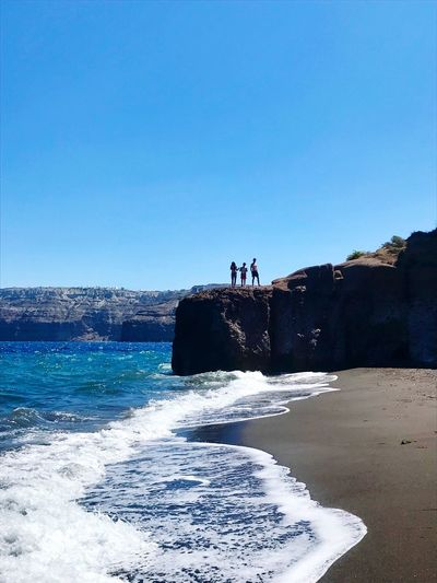 Summer Santorini Black Beach My Kids❤️ Water Sea Sky Clear Sky Land Beach Nature