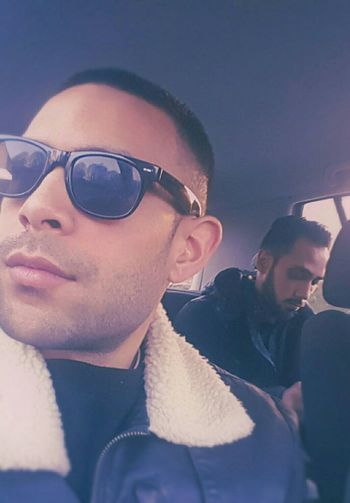 Goodday Sunny Me Friends Bradas Brothers Sunglasses Shades Beard Beardgame Shaved Car Weather Jacket Bluesky Blunt Weed Cigarettes Peace Photography Eye4photography  EyeEmBestPics Model Malemodel  Cruising