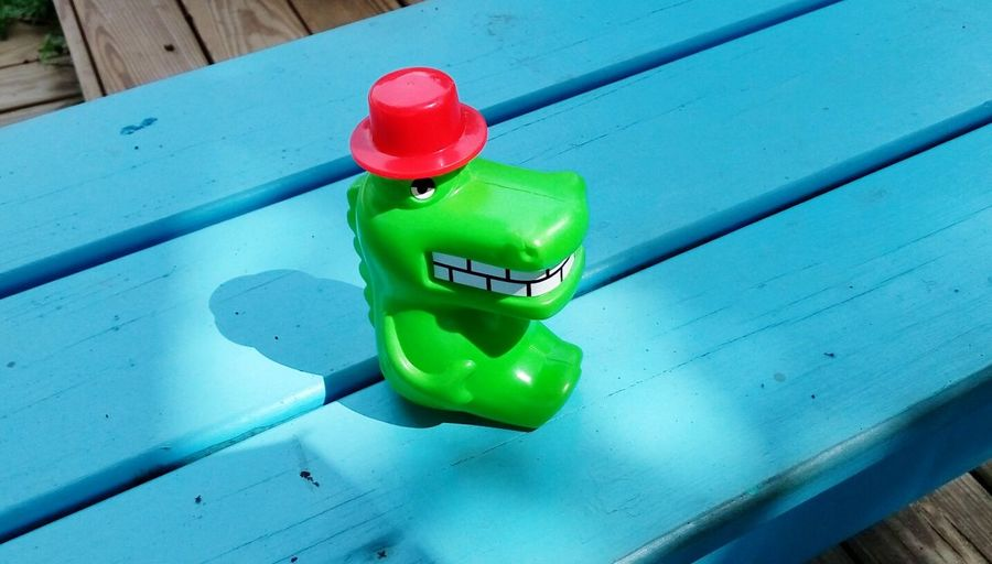 Toy Crocodile Toy Red Hat Green Crocodile Child Toy Blue Bench Exploring Style