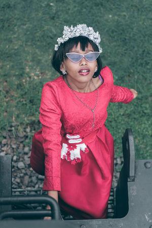 She went for the Princess look. Fresh On Eyeem  Fresh On Market 2018 EyeEm Best Shots Eyemphotography Eye4photography  Canon EyeEmNewHere Fashion Young Women Warm Clothing Women Portrait Standing Red Posing Blooming Sunglasses Head And Shoulders Petal Eyewear #FREIHEITBERLIN