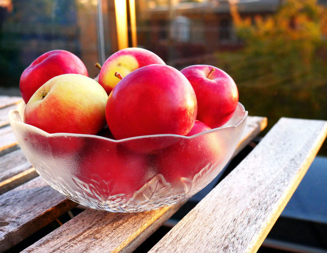 High angle view of apples on table