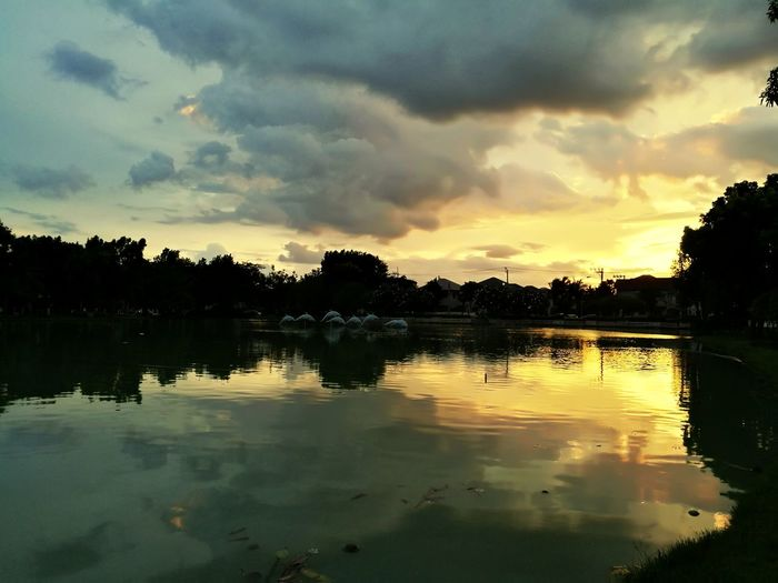 sunset at home Tree Water Flood Sunset Lake Reflection Silhouette Sky Cloud - Sky Swamp Reflecting Pool Reflection Lake Dramatic Sky Storm Cloud Calm Thunderstorm A New Beginning