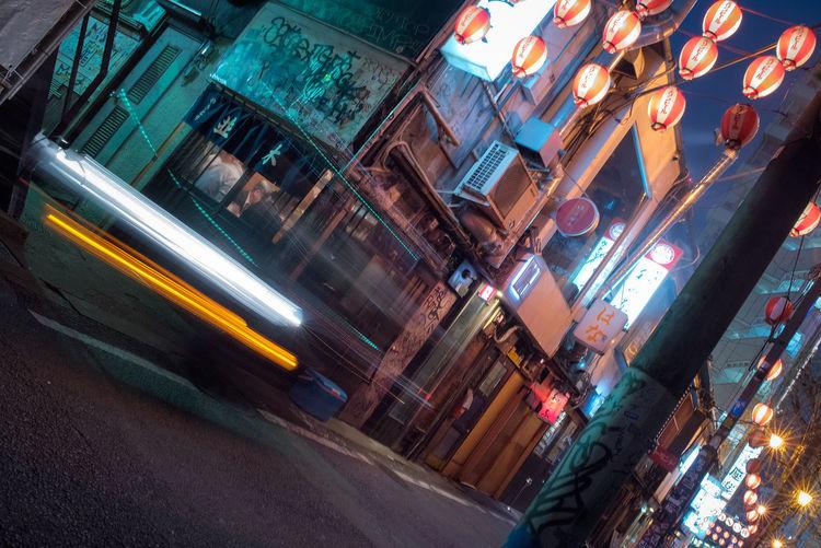 Back-alleys of Shibuya. Built Structure City Colors Of The Night Illuminated Japan Japan Photography Lanterns Long Exposure Night No People Outdoors Road Shibuya Speed Street Streetphotography Trailshots Urban Urban Exploration The Street Photographer - 2017 EyeEm Awards Mobility In Mega Cities HUAWEI Photo Award: After Dark