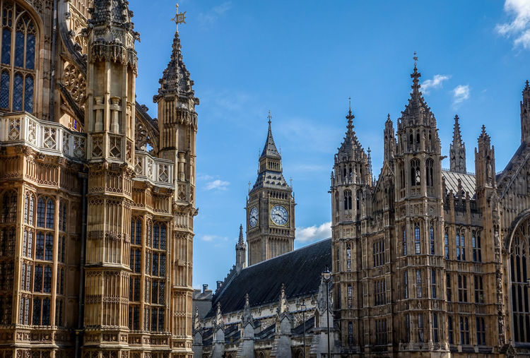 Low angle view of westminster abbey and big ben against sky