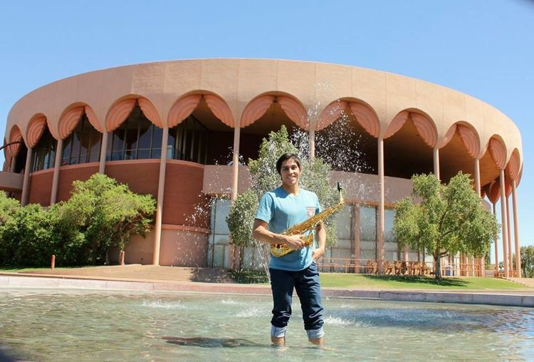 Nathan the Sax man. #asu #gammagetheater #music #sax Architecture Blue Casual Clothing Clear Sky