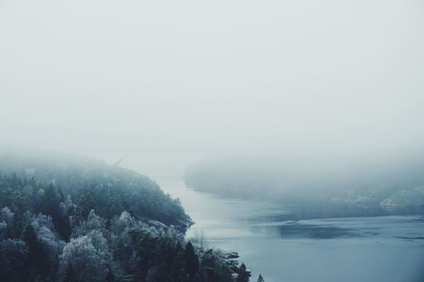 there is a bridge out there... Water Sea Nature Reflection Scenics Outdoors Beauty In Nature Tranquility Tranquil Scene Day Sky No People Fog Landscape Cold Temperature Wave Svinesund Bru Sweden Svinesund Scenic Ringdalsfjorden Cold Iced River Winter Foggy Day