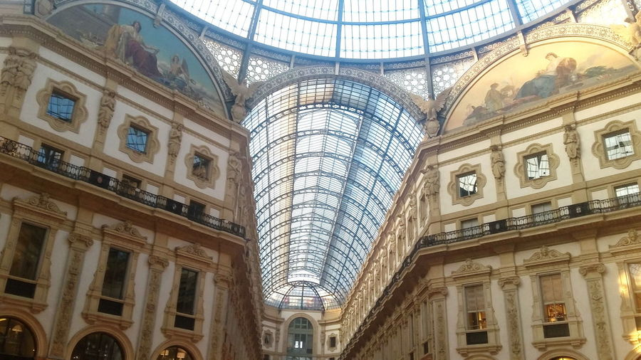 Italy's oldest active shopping mall, Galleria Vittorio Emanuele II in Milan. Architecture Shopping City Life Milano Shopping Center Tourism Gallery Interior Milan Arch Shopping Mall Galleria Vittorio Emanuele Cupola Travel Destination Italy Arcade Light Dome Indoors  Travel Destinations No People History Glass Glass Dome Illuminated