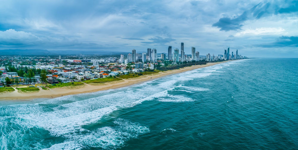 Australia Aerial View Drone Photography Panorama Panoramic Australian Landscape Building Exterior Architecture City Built Structure Water Office Building Exterior Building Sky Cloud - Sky Skyscraper Sea Cityscape Nature Urban Skyline Landscape Day No People Waterfront Beach Outdoors Modern Financial District