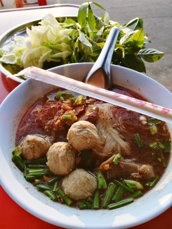 noodles with meatballs Thai Foods Thai Street Food Food And Drink Bowl Healthy Eating Food No People Ready-to-eat Vegetable Soup Day Close-up