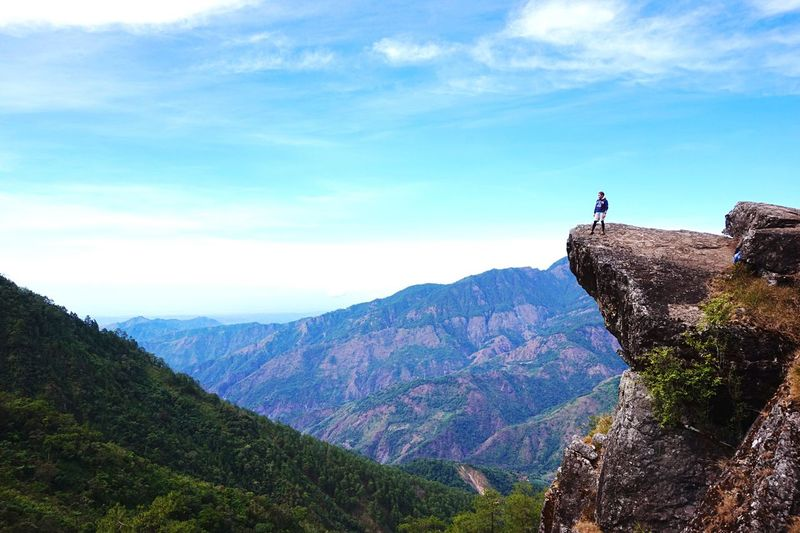Wide angle of mountain landscape and man on rock formation