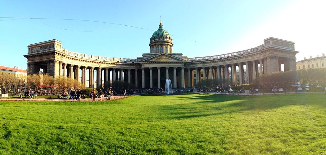 People At Historic Kazan Cathedral Against Sky