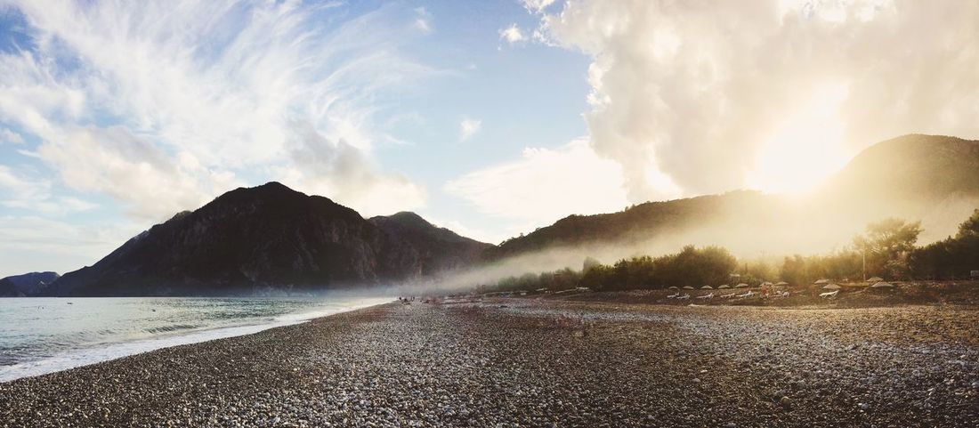 Beach Panorama Landscape Mountains Sunset Sea Seaside Beachphotography Sun Evening The Great Outdoors With Adobe