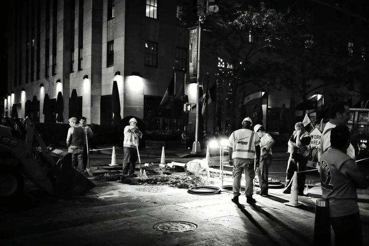 Manhattan NYCImpressions Night Photography Monochrome Nyc Streets Men At Work  We Never Sleep EyeEm In NYC 2015 New York City Construction Site