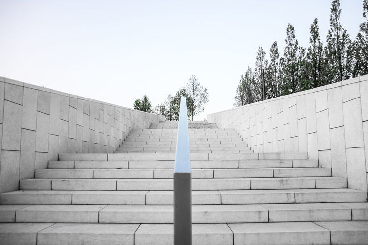 Low angle view of empty staircase against clear sky