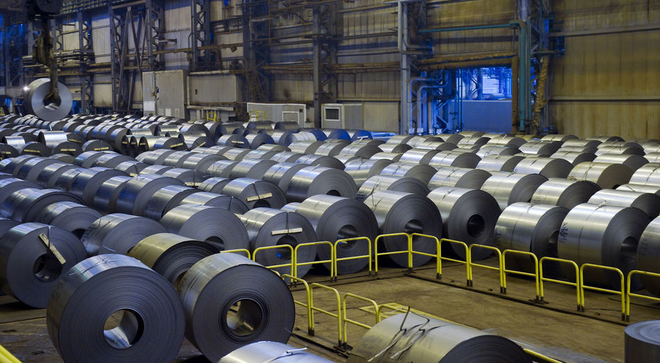 Rolls of steel sheet in factory