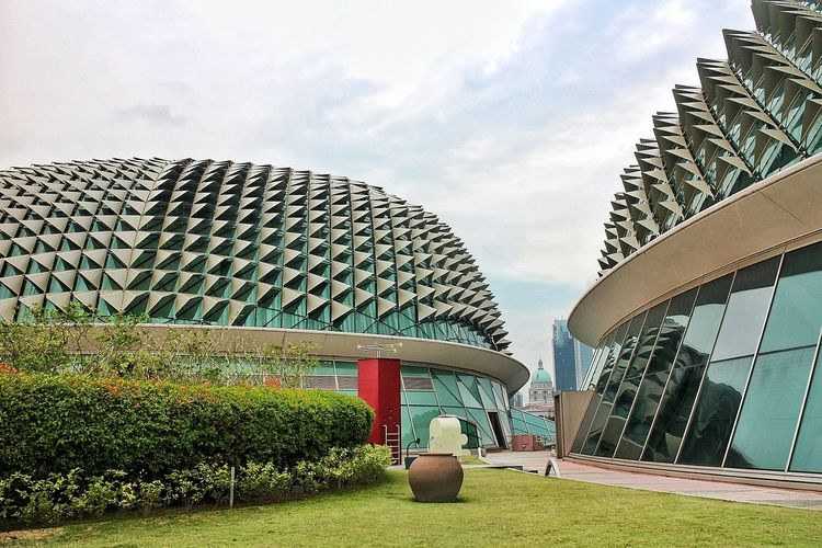 durian-inspired Singapore Esplanade Theater Esplanade Roof Durian Inspired Roof Durian Durian Inspired Durian Inspired Architecture Sky Architecture Grass Built Structure Building Exterior Thatched Roof Topiary Tranquility Tranquil Scene Cloud - Sky
