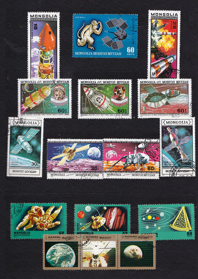 First Soviet Man In Space Laika Space Dog Mariner 5 Space Mission Mongolia China Mongolia Space Stamps Sputniks Venus Space Probe Yuri Gargarin Art And Craft Black Background Close-up Day Human Representation Indoors  Magnet Multi Colored No People Postage Stamp Variation