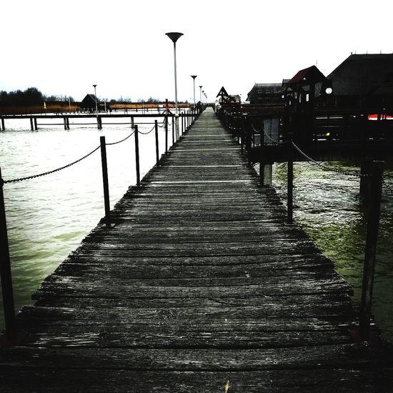 Water Railing Outdoors Pier Bridge - Man Made Structure Lake Sky