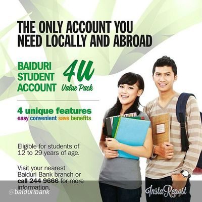 Baiduri Student Account – The only account you need locally and overseas. Withdraw cash at overseas ATMs and get service charges waived! Transfer funds through i-Banking locally and overseas and also get services fees waived! Baiduribank Baiduristudentac Brunei SpreadTheLove