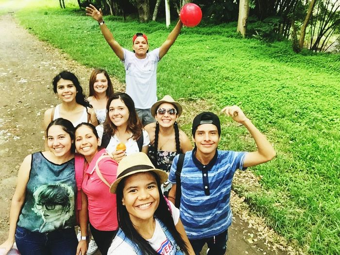 Arms Raised Portrait Human Arm Looking At Camera Smiling Fun Happiness Human Body Part Standing Day Togetherness People Cheerful Adult Outdoors Young Adult Friendship Group Of People Men Young Women Tourist Resort Nature Photography Travel Destinations Colombia ♥  Vacations