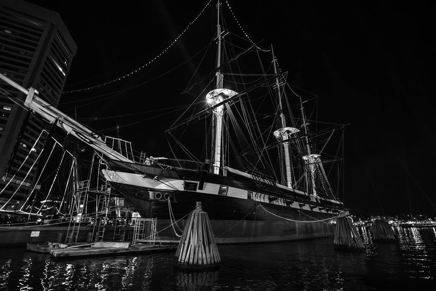 Baltimore Baltimore Harbor Baltimore Maryland Constellation Irix 15mm Maryland Nikon Blackandwhite Cufotos Harbor History Illuminated Light City Mast Moored Nautical Vessel Night No People Outdoors Reflections Sky Tall Ship Transportation War Ship Water