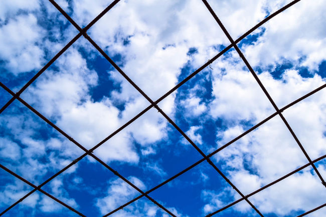 Backgrounds Beauty In Nature Blue Sky Cloud Cloud - Sky Cloudy Day Full Frame Low Angle View Nature No People Outdoors Overcast Reinforcement Bar Sky Tranquility Weather