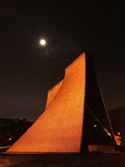 Tunghai University - Luce Memorial Chapel Building Luce Memorial Chapel Tunghai University Taiwan Night Illuminated Sky Architecture Moon Low Angle View Built Structure Travel Building Exterior Outdoors