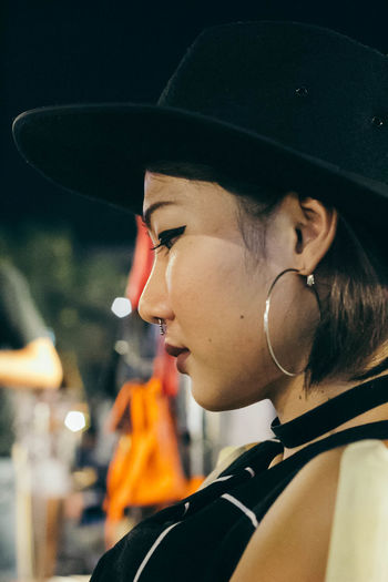 No Caption Headshot Portrait One Person Hat Real People Close-up Focus On Foreground Clothing Lifestyles Looking Looking Away Side View Young Adult Leisure Activity Women Adult Young Women Profile View Teenager Human Face