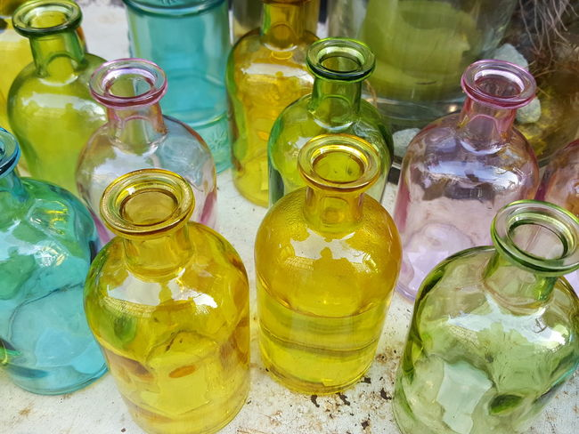 Bottle Large Group Of Objects Glass Glass - Material Glassware Glass Bottles Glass Objects  Colourful Glass Glass Bottles Multi Colored Multi-coloured Coloured Coloured Glass Bottles
