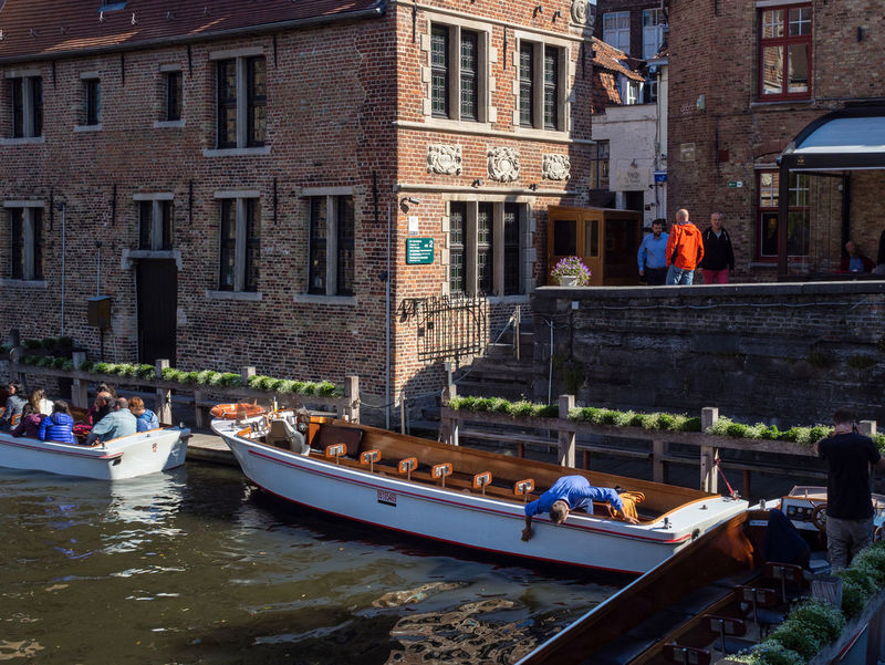 Good Weather Tourist Attraction  Boat Boat Ride Bruges Canal Canal Boat Day Nautical Vessel Old Buildings Rozenhoedkaai Sun Water