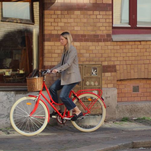 The Red bike Talking Pictures Real People Stonewall Red Sweden Summertime Smiling Biker Posing