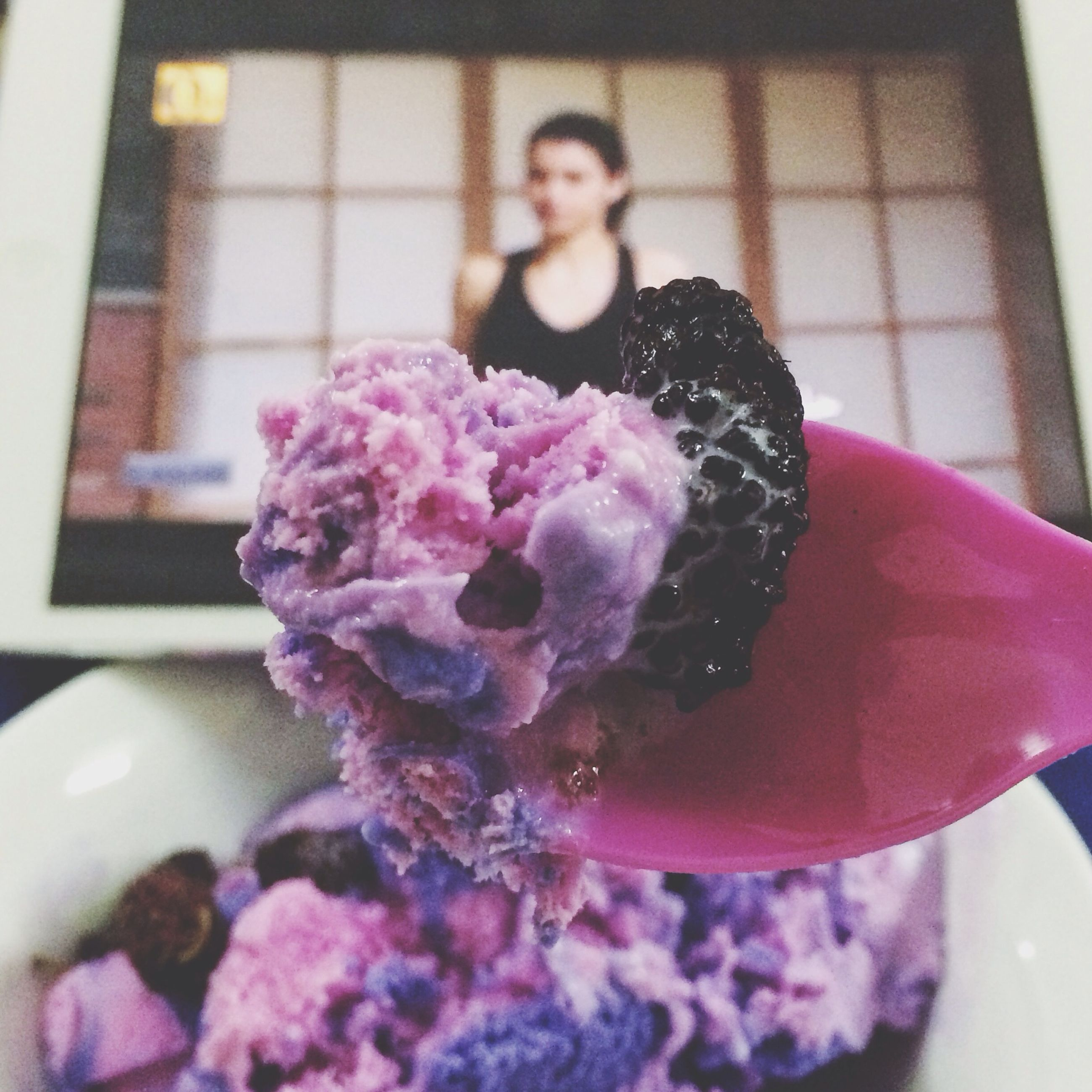freshness, indoors, flower, pink color, food and drink, sweet food, focus on foreground, food, close-up, holding, dessert, ice cream, table, purple, frozen food, window, home interior, rose - flower