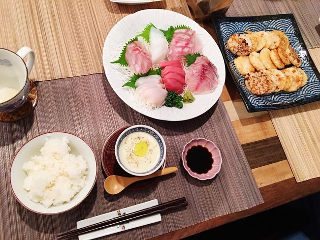 Today's Dinner Sashimi Dinner お刺身 山芋の明太バターステーキ 枝豆のクリームスープ Yam Mentaiko Butter Stake Green Soybeans Cream Soup Ready-to-eat Healthy Eating SoDelicious Food Porn Foodporn Indoors