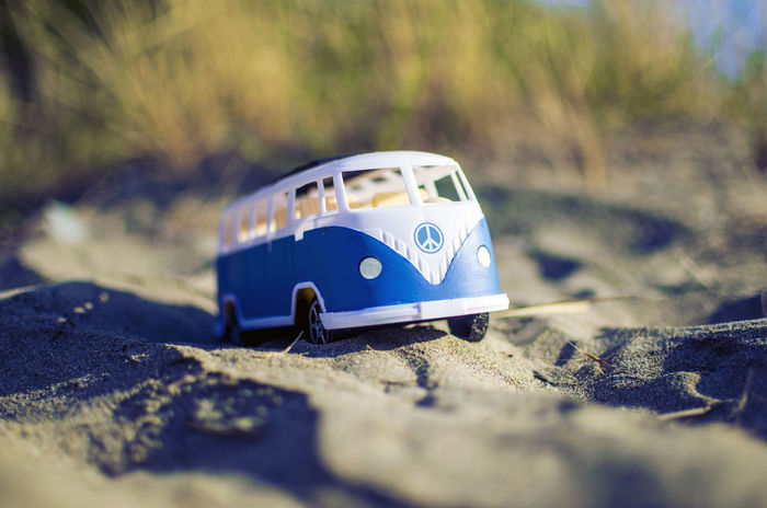 Peace Seashore Wandering Adventure Black Sea Bulgaria Burgas  Close-up Hippie Hippie Bus Hippievan No People Outdoors Sand Sea Selective Focus Toy Toy Car Transportation Vacation Volkswagen Volkswagen Van Volkswagenbus Wander Wonderlust