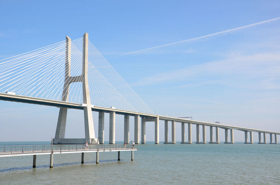 Bright Ponte Vasco Da Gama Portugal Tejo Architecture Blue Bridge Lisboa Lisbon Water White