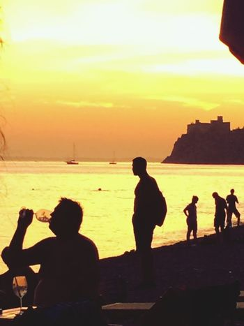 Outdoors Landscape Scenics Real People Tranquil Scene Sea Tranquility Sunset Sunset Silhouettes Silhouette Silhouettes Summertime Summer Views