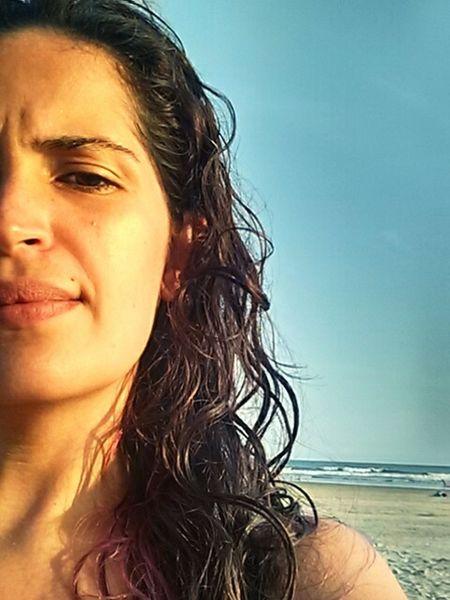 Portrait Beautiful Woman Sea Beach Young Women Curly Hair Water Headshot Beautiful People Natural Beauty