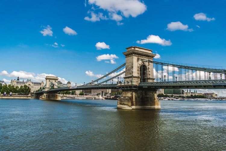 Low angle view of suspension bridge