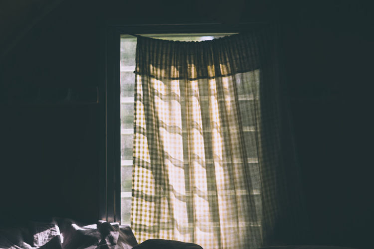 curtain in window light Curtain Indoors  Window Day Sunlight Textile Home Interior No People Domestic Room Hanging Shadow Furniture Bedroom Bed Translucent Nature Pattern Copy Space Architecture