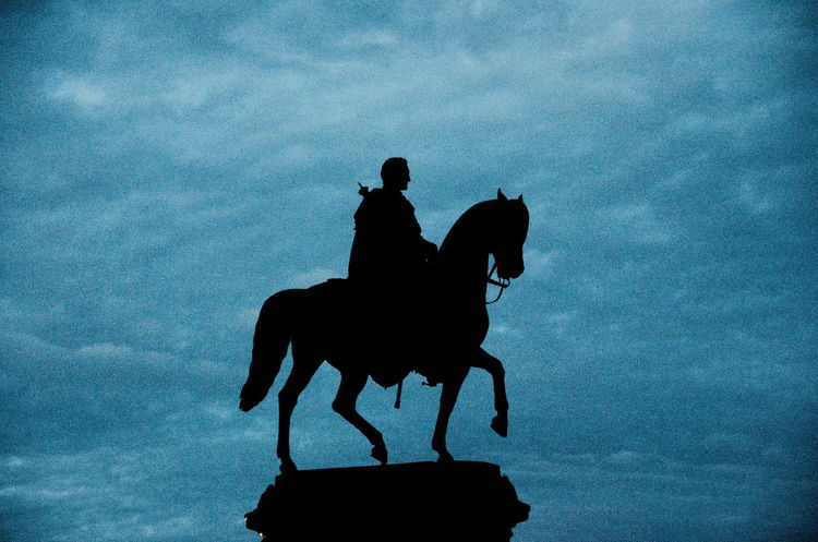 Silhouette of Rider Blue Cloud Cloud - Sky Day Dusk Horse Horseback Riding One Animal Outdoors Outline Semperoper Silhouette Sky Statue