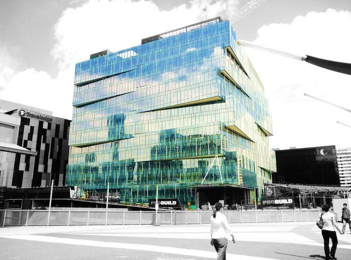 Blackandwhite Original Colour Building People Architecrure EyeEmNewHere Melbourne Australia Victoria Blue Green Outdoors City Office Building Construction Sky Building Exterior Builders Rubix Cube Rubik's Cube Day Glass Reflection Windows