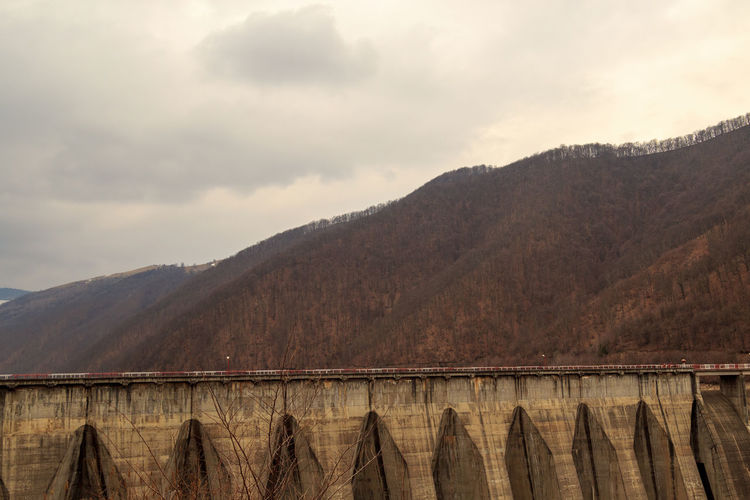 High angle view of dam against sky