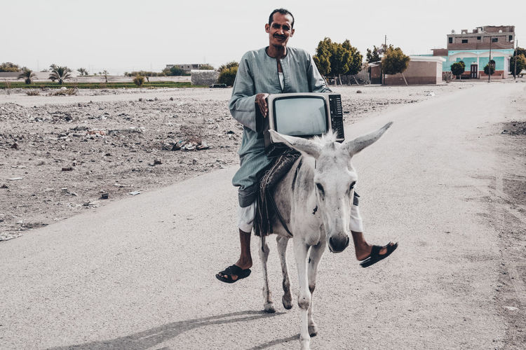 Man holding television set while sitting on donkey