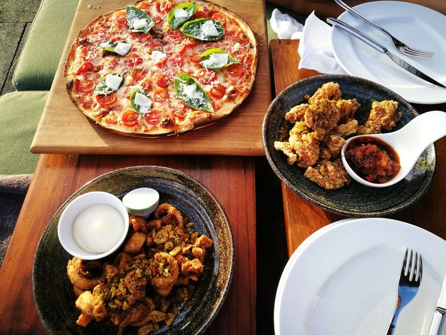 Plate Ready-to-eat Food And Drink Table Food Indulgence Still Life Temptation Indoors  Freshness Serving Size No People Directly Above Gourmet Appetizer Fast Food Day Close-up Whatsonmytable Whatsonmyplate Pizza Chickens Calamari Unique Style